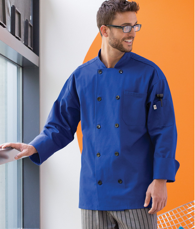 NEW COLORS! 405 10 Black Button Chef Coat